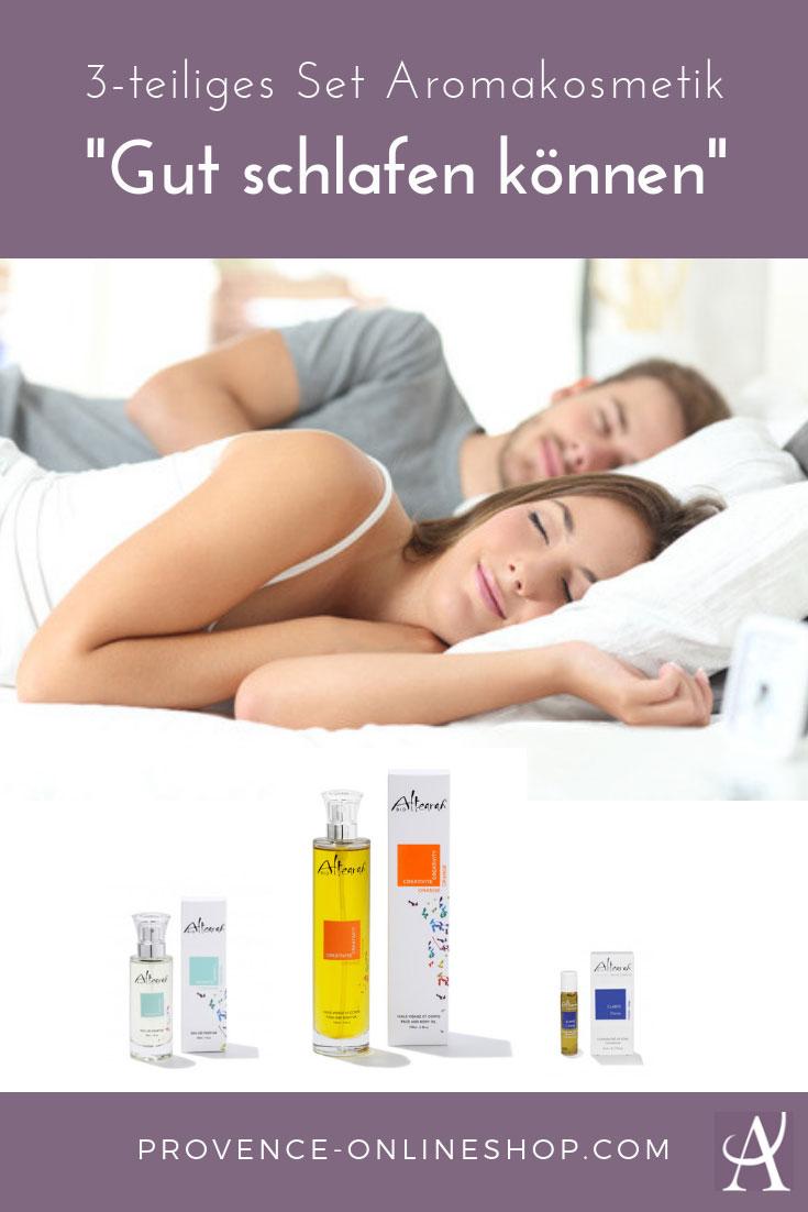 Gut schlafen können mit unserem 3-tlg. Sparset. Ätherische Öle helfen Dir zu entspannen, zur Ruhe zu kommen und können einen guten Schlaf fördern.