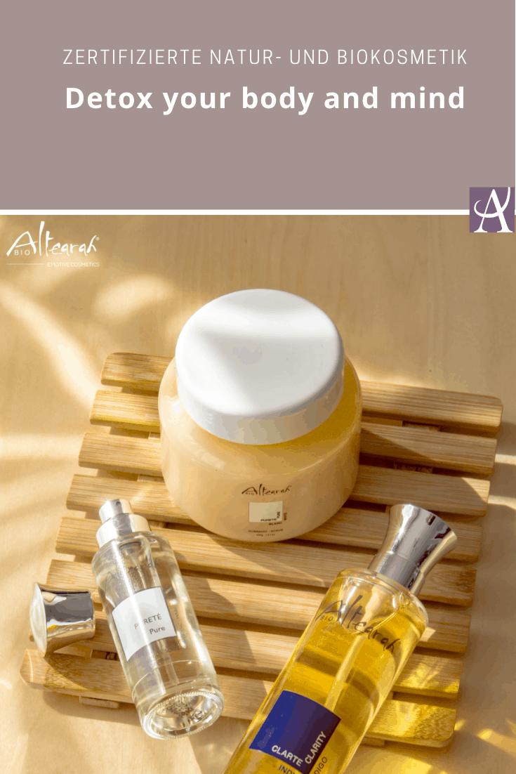 Aromatherapie: 3-tlg. Set Detox Body & Mind mit hochwertigen ätherischen Ölen ❀ Inhalt: Bodyscrub, Bioparfüm und Körperöl von Altearah ❀ Naturkosmetik aus Frankreich